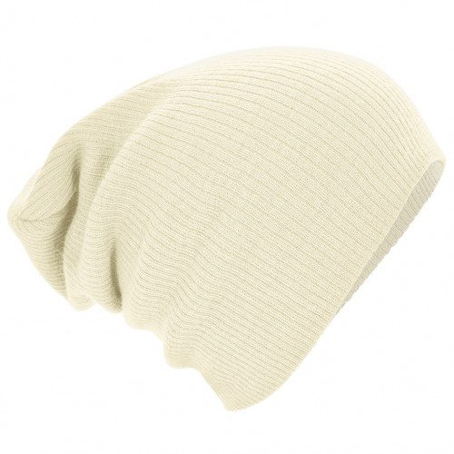 Beechfield Unisex Slouch Winter Beanie Hat (One Size) (Off White)