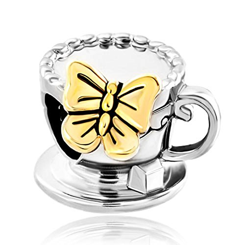 Silver Tone Coffee Cup Gloden Butterfly Bead Fits Pandora Charms Bracelet
