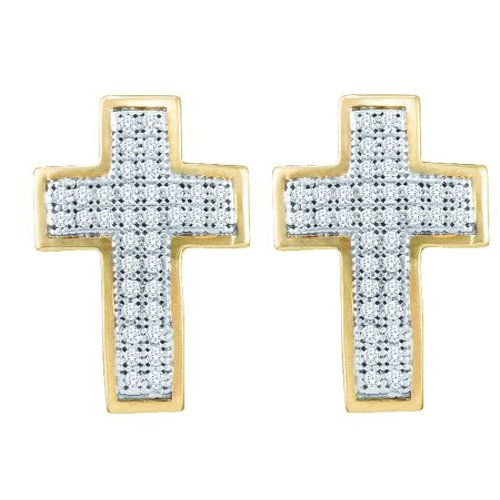 10K Yellow Gold 1/5 ct. Diamond Cross Earrings