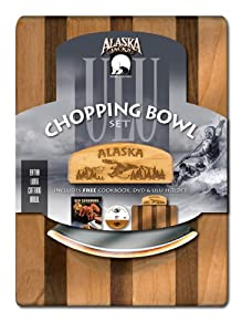 Alaskan Ulu Bowl and Knife with Instructional DVD & Cookbook - Bald Eagle Etched Art