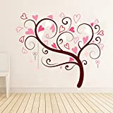 Sky Solution Decor Home Design Wall Sticker For Heart Shapad Tree Large Size - 25*21 (Inch) - Multicolor