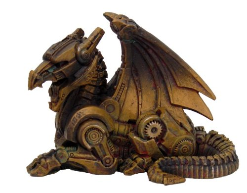 3.5 Inch Steampunk Sitting Winged Dragon Resin Statue