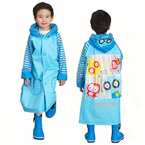 [Ezyoutdoor Unisex Kids Pink/Blue/Yellow Children Hooded Raincoat Rain Jacket Poncho with School Bag Cover with Reflective Strip Children Raincoat Cartoon Poncho (Blue,] (Super Mario Flower Power Costume)