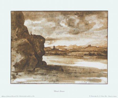 Kunstdruck / Poster Claude Lorrain - Tiberlandschaft nördlich von Rom - 32.5 x 27.0cm - Premiumqualität - MADE IN GERMANY - ART-GALERIE-SHOPde