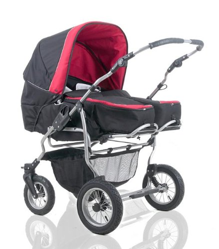 wheels-4-babies presents: DUET twinpram by Mikado incl. pushchair and 2 x carry basket for newborn - in design BLACK-RED - see another 9 designs in our shop
