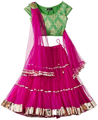 Maya Kidology In-House Collection By Maya Nocon Baby Girl's Lehenga Set (Orange)