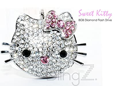 TheBlingZ 8GB Cute Kitty Diamond Bling Heart Jewellery Jewelry USB Flash Drive Disk Memory with Simulated DIAMOND Crystals -Ideal Great Gift by TheBlingZ