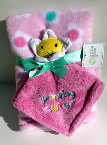 Baby Gear Growing Cuter 2 Piece Pink Flowers Blanket Set (Baby Blanket & Security Blanket)