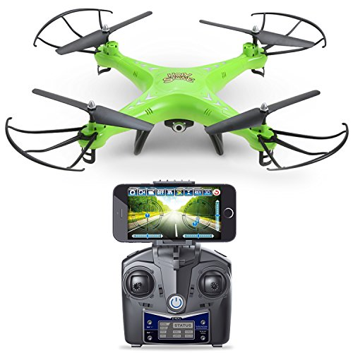 Holy Stone HS110 FPV Drone with 720P HD Live Video WiFi Camera 2.4GHz 4CH 6-Axis Gyro RC Quadcopter with Altitude Hold, Gravity Sensor and Headless Mode Function RTF, Color Green (Rc Sensor Cable compare prices)
