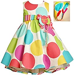 Bonnie Baby Large Dots Birthday Dress with Headband, 18 Months