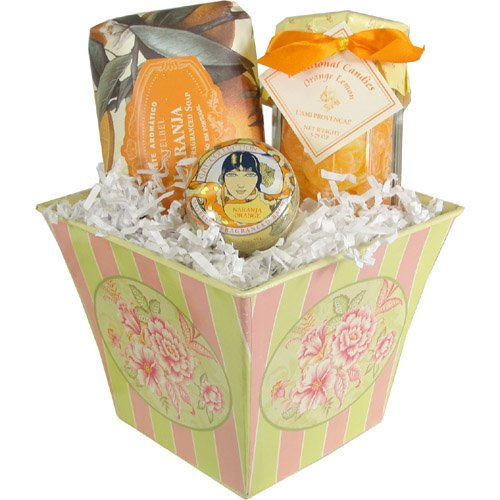French Gourmet Orange Citrus Gift Basket with Soap