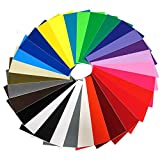 """Vinyl Ease 6"""" x 12"""" 30 Sheets Assorted Colors Gloss Permanent Adhesive Vinyl for Cricut, Silhouette, Pazzles, Craft ROBO, QuicKutz, Craft Cutters, Die Cutters, Sign Plotters - V0001"""