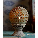 ALs AnM Fashion Natural Soapstone Marble Oval-shaped Tea Light / Candle / Votive Holder / Oil Burner With Stand...