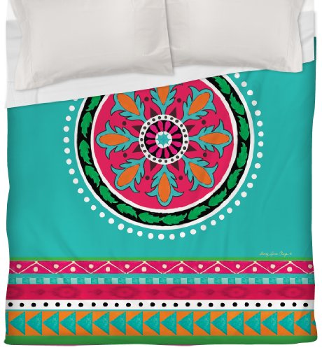 Thumbprintz Duvet Cover, Twin, Turquoise Boho Medallion Stripe front-480999