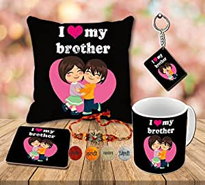Aart I love you my brother Printed Cushion (12 X 12) with Filler, Ceramic Mug Capacity: (350 ML), Coaster and Keyring for Raksha Bandhan Gifts.