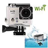 Blusmart? Wifi 1080P Action Camera Sports Camera Waterproof HD Action DVR Wide Angle DV Diving Action Camera(WiFi DV-White)