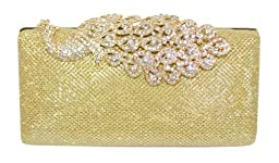 Chicastic Mesh Rhinestone Peacock Hard Box Wedding Cocktail Clutch Purse - Gold