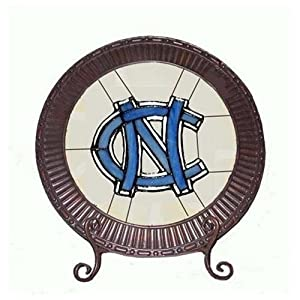 North Carolina Tarheels UNC Glass Charger Plate by Traditions Artglass