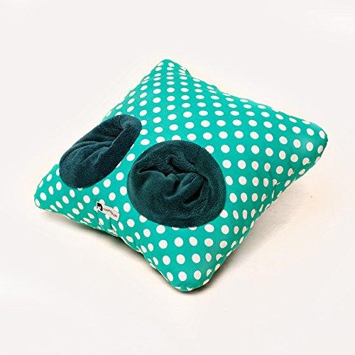 geschenkartikel-shopping Filou Pantoffelkissen Tupfen Punkte türkis für warme Füße oder als Deko-/Zierkissen auf dem Sofa