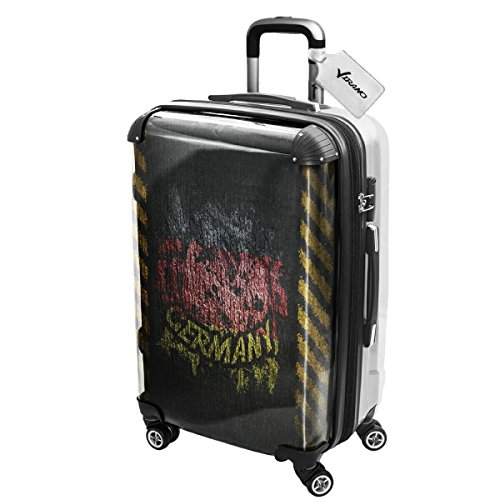 Drapeaux Signés Allemagne, Luggage Bagage Trolley Valise de Voyage Rigide, 360 degree 4 Roues Valise avec Echangeable Design Coloré. Grandeur: Moyen, M