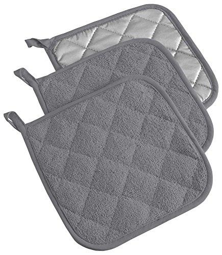 DII 100% Cotton, Machine Washable, Everyday Kitchen Basic  Terry Potholder Set of 3, Gray