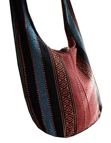 Btp! Thai Cotton Sling Bag Purse Crossbody Messenger Hippie Hobo Hand Woven Ikat A18 front-337082