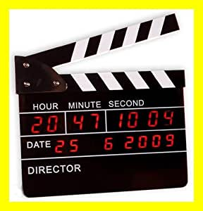 CineShopping Director's Clock Horloge et Réveil Clap Cinéma LED Digital Rouge