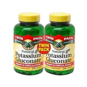 Spring Valley Potassium Gluconate, 250 Caplet Bottles, Twin Pack
