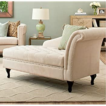 Traditional Storage Chaise Lounge - This Luxurious Lounger w/ Tufted Cushions is a Great Addition to Your Office, Living Room, or Bedroom -Made of Wood and Microsuede - Free eBook (Khaki)