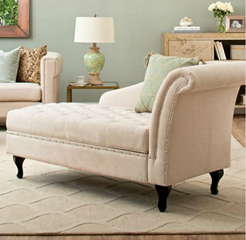 Traditional Storage Chaise Lounge - This Luxurious Lounger w/ Tufted Cushions is a Great Addition to Your Office, Living Room, or Bedroom -Made of Wood and Microsuede - Free eBook (Khaki) 0