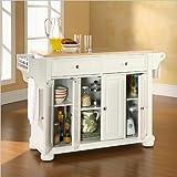 Crosley Furniture Alexandria Natural Wood Top Kitchen Island, White