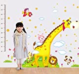 UberLyfe Giraffe and Friends Height Chart cum Wall Sticker - 2 Sheet (Wall Covering Area: 160cm x 230cm)