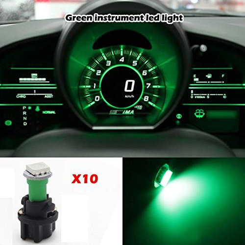 Partsam 10pcs PC74 T5 37 74 LED 5050 SMD Instrument Panel LED Light Gauge Cluster Dashboard Indicator Bulbs with Twist Socket, Green (Toyota Odometer compare prices)