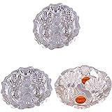 GS MUSEUM Silver Plated Rani Kumkum Plate 2 Sets And Silver Plated Roli Chawal Orange Diamond Plate