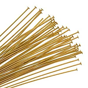 Brass Gold Tone Headpins 22 Gauge 3 Inches (25 Head Pins)