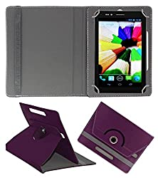 Acm Rotating 360° Leather Flip Case For Nxi Fabfone Smart 3g Tablet Cover Stand Purple