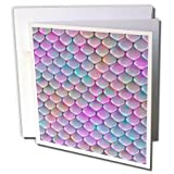 3dRose Andrea Haase Art Illustration - Mermaid Scale Or Fish Scale Pattern In Pastel Pink And Purple - 12 Greeting Cards with envelopes (gc_271146_2) (Tamaño: Set of 12 Greeting Cards)