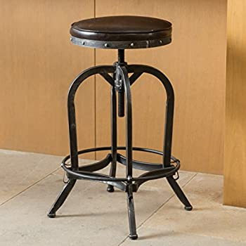 Dempsey | Rustic Industrial | Distressed Metal | Swivel Adjustable | Bar Stool (Brown Bonded Leather)