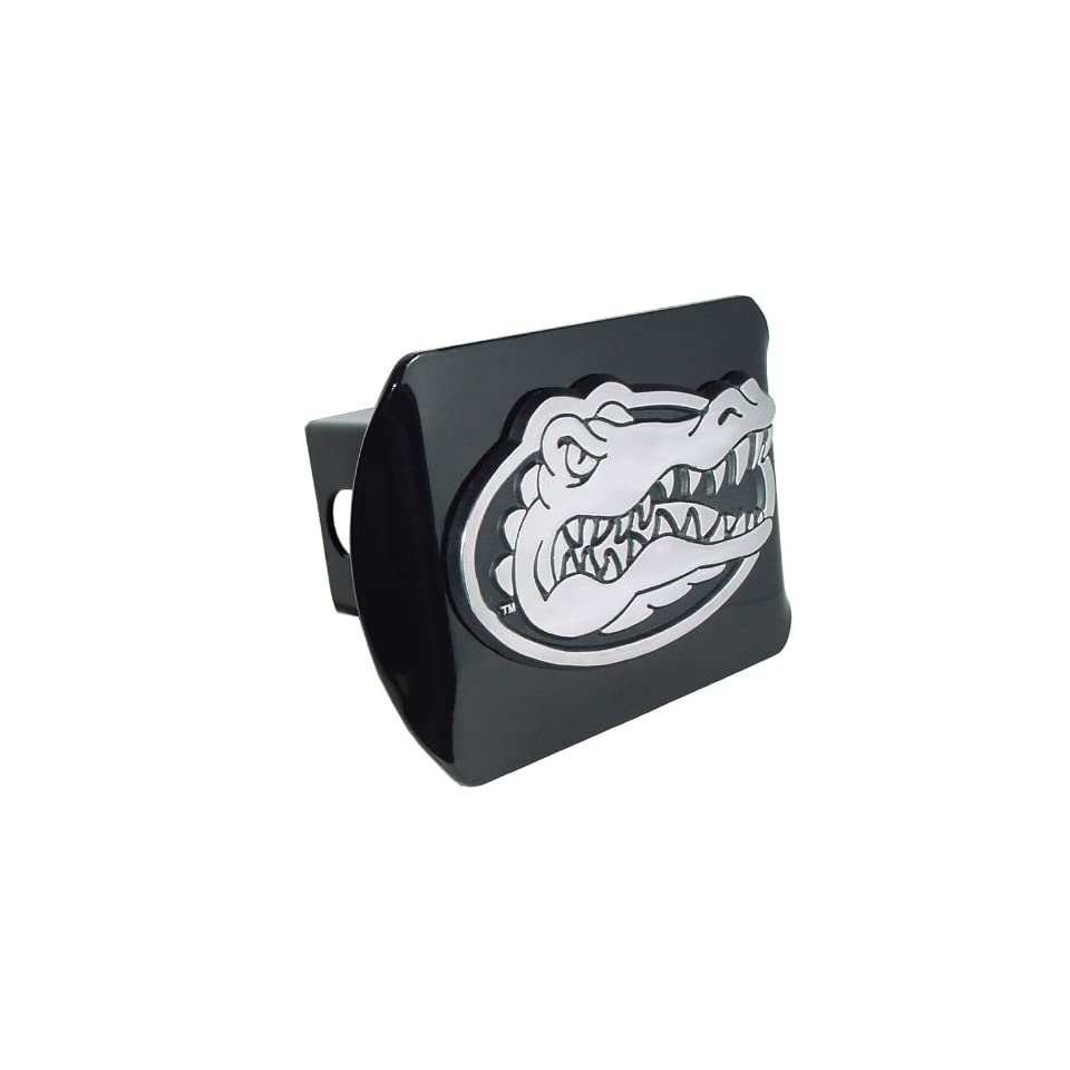 University of Florida Gators Black with Chrome Gator Head Emblem NCAA College Sports Metal Trailer Hitch Cover Fits 2 Inch Auto Car Truck Receiver
