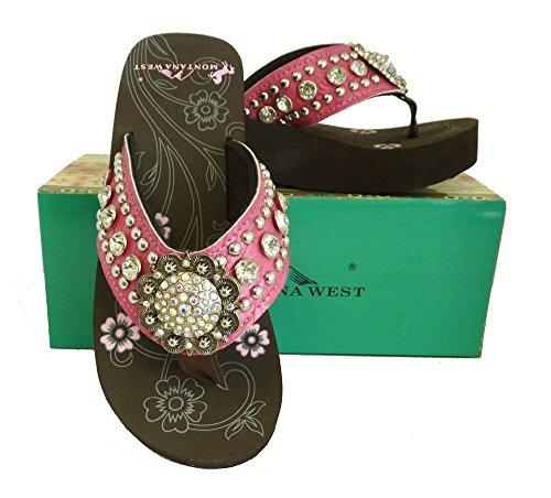 2ff92d1c3 Montana West Ladies Flip Flops Large Rhinestones Floral Concho Pink