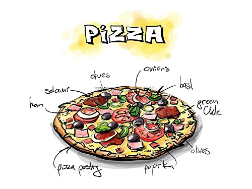 PAINTING ILLUSTRATION TASTY FOOD RECIPE PIZZA PICTURE ART PRINT POSTER MP5477A (Tasty Foto Art compare prices)