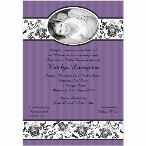 Delightfully Damask Photo Lilac Baby Shower Invitations - Set Of 20 front-992075