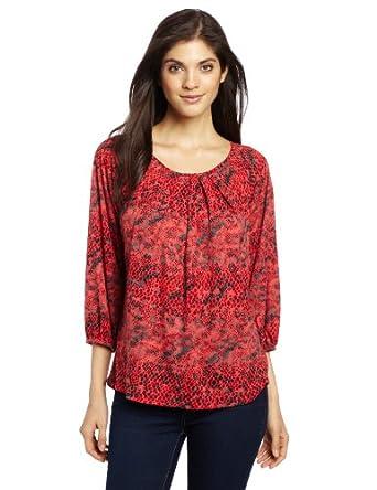Chaus Women's 3/4 Sleeve Textured Animal Peasant Top, Rich Crimson, Large