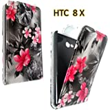 HTC 8X WINDOWS PINK BLACK FLOWER FLIP CASE TASCHE HÜLLE