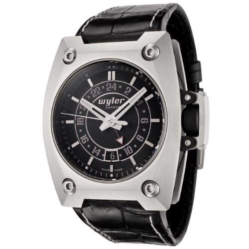 Wyler Geneve Men's 200.4.00.BB.1.CBA Code R Collection Automatic GMT Black Alligator Watch
