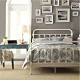 Inspire Q Giselle Antique White Graceful Lines Victorian Iron Metal Bed - Queen Size. This Victorian Style Frame Looks Perfect in Any Bedroom. Includes Headboard Footboard and Rails.