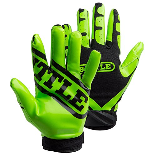Battle Youth Ultra-Stick Receiver Gloves, Medium, Neon Green/Black