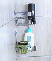 NOVICZ Suction Fix Stainless Steel Bathroom Corner Shelves Stand - - Bathroom TToilet Cosmetic Organizer Rack