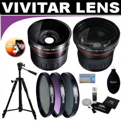 Vivitar Series 1 High Definition Wide Angle Fisheye 0.21x Lens + Vivitar Series 1 High Definition 3.5X Telephoto Lens + Vivitar Series 1 Multi-Coated 3 Piece Filter Kit (UV, CPL, FLD) Includes Nylon Filter Wallet + Deluxe DB ROTH Vivitar Accessory Kit For The Canon XH-A1, XH-A1S, XH-G1, XL-1S, XL1, XL2, XL-H1 Mini Dv Camcorders