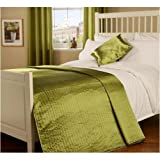 Double Quilted Passionate Faux Silk Bedspread in Moss Green